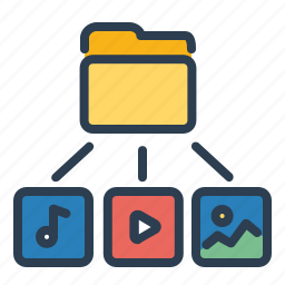 directory, folder, image, media, photo, sound, video icon