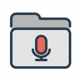directory, folder, mic, microphone, records, sounds, voice icon