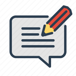 blog comment, commenting, compose, feedback, message bubble, pencil, writing icon