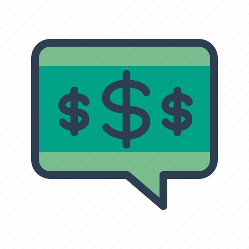 budget discussion, investment, message, money icon