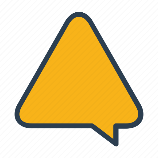 alert, chat, chatting, comment, message bubble, triangle, warning icon