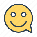 comment, happy, message bubble, smiley icon