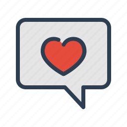 chat, chatting, comment, favourite, heart, like, message bubble icon