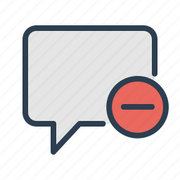 chat, chatting, comment, delete, message bubble, minus, remove icon
