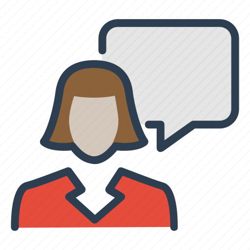 consultant, help, message bubble, speech, support, talk, woman icon