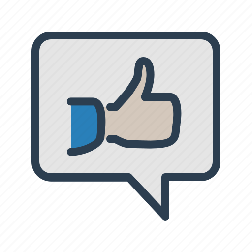 comment, feedback, hand, like, message bubble, positive, thumb up icon
