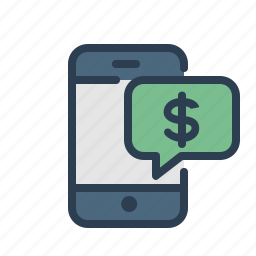 dollar, earnings, message bubble, mobile, money, payment, smartphone icon
