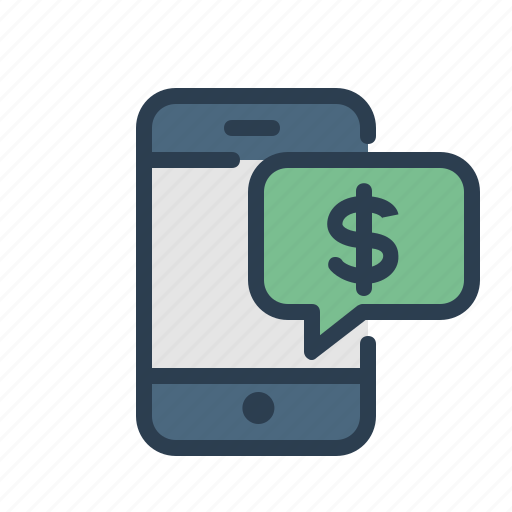dollar, message bubble, mobile, payment icon