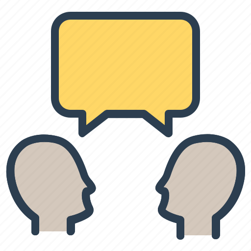 communication, dialogue, discussion, heads, message bubble, talk icon