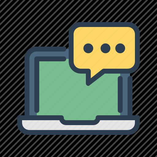 comment, laptop, message bubble, screen icon