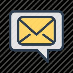 comment, communication, email, envelope, mail, message, message bubble icon