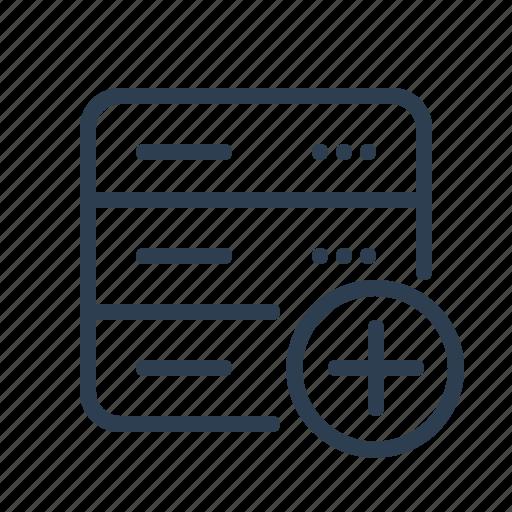 add, database, db, new, plus, server, storage icon