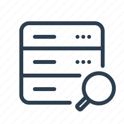 database, db, explore, magnifying glass, search, server, storage icon