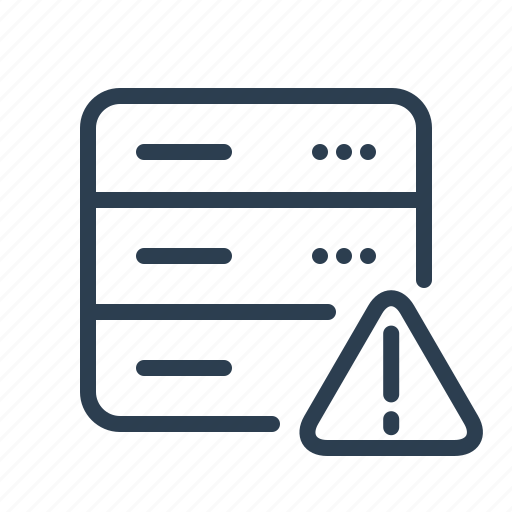 database, db, error, exclamation, server, storage, warning icon