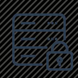 database, db, lock, private, safe, server, storage icon