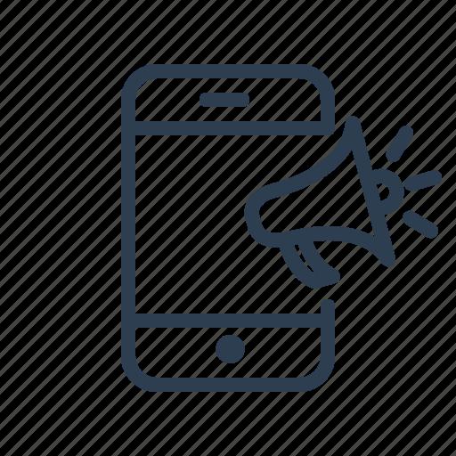 ads, loud, megaphone, mobile, mobile marketing, phone, speaker icon