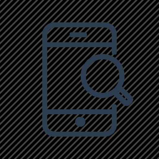 explore, magnifier, mobile, phone, search, smartphone, zoom icon