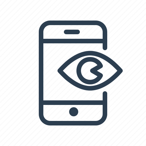 advertising, eye, impression, mobile, phone, view, visible icon