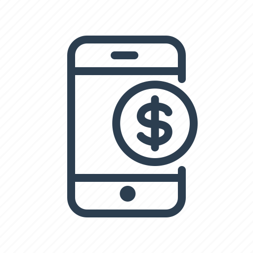 coin, dollar, mobile, money, online payment, phone, smartphone icon