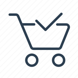 bag, cart, checkmark, complete, ecommerce, online shop, shopping bag icon