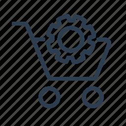 basket, cart, ecommerce, gear, settings, shop, shopping bag icon