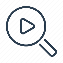 film, magnifier, magnifing glass, play button, research, video file, video search icon