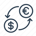 bank, currency, dollars, euro, exchange, money, rate icon