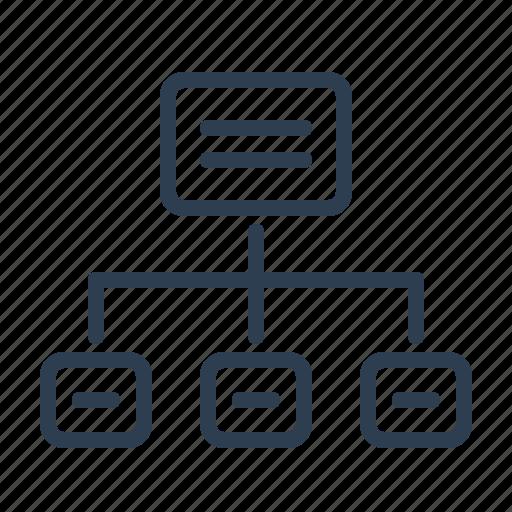 flowchart, hierarchy, menu, navigation, scheme, sitemap, wireframe icon