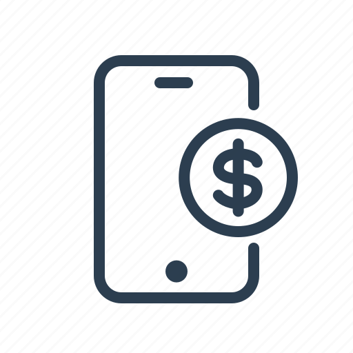 cash, dollar, earnings, mobile, money, payment, smartphone icon