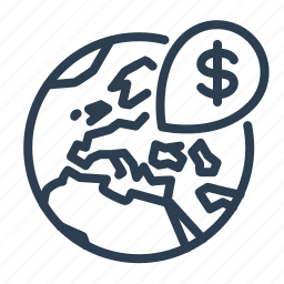 dollar, earth, global business, marker, money, pin, world icon