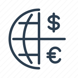 currency exchange, dollar, euro, finance, global solution, international banking, world money icon