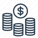 budget, cash, coins, dollar, investment, money, saving icon
