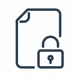 document, file, lock, locked, page, secure, security icon