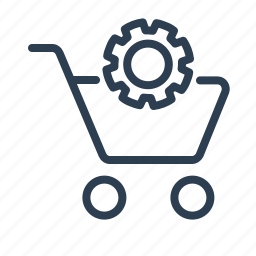 basket, control, gear, options, settings, shop bag, shopping cart icon