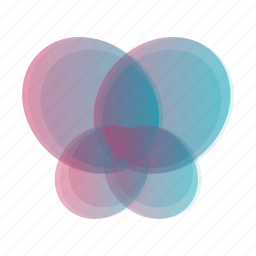 abstract, bubble, butterfly, geometric, leaf, rainbow icon