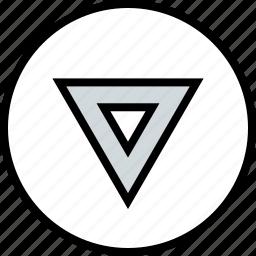 arrow, down, point, triangle icon