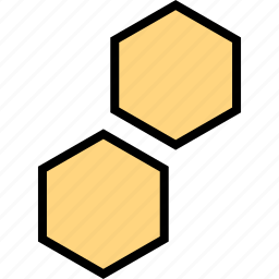 abstract, creative, hexagons, two icon
