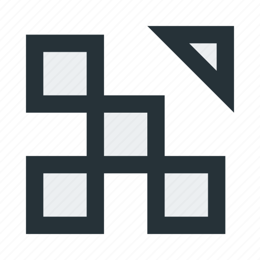 abstract, blocks, figure, squares, triangle icon