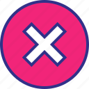 cross, delete, denied, stop, x icon