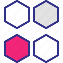 creative, design, four, hexagons icon