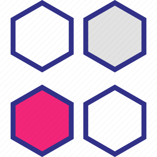 creative, design, four, hexagons icon