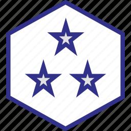 design, hexagon, stars, three icon