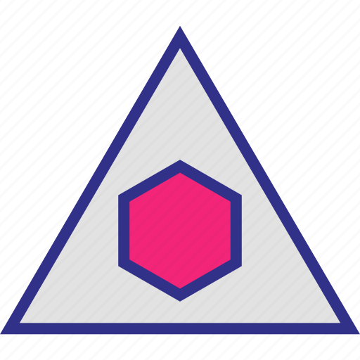 center, hexagon, shape, triangle icon