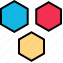 abstract, design, hexagons, three icon