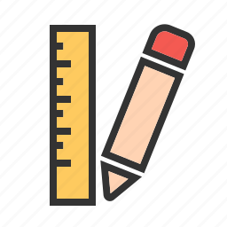 draw, equipment, measure, pencil, ruler, scale, tool icon