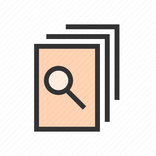 analysis, documents, files, magnifier, notes, reports, research icon