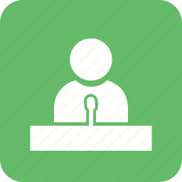 event, lecture, meeting, presentation, press conference, seminar, speaker icon