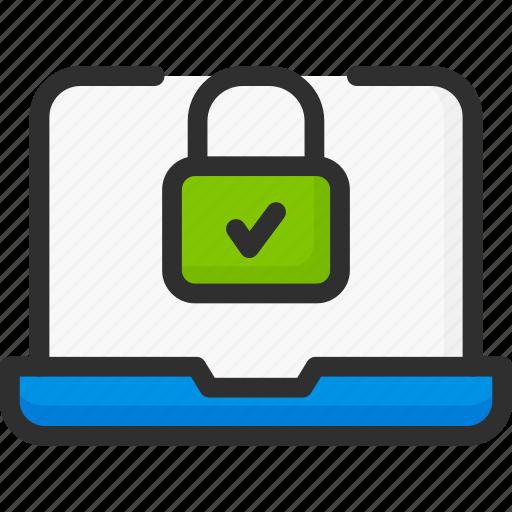 access, check, laptop, lock, login, padlock, password icon