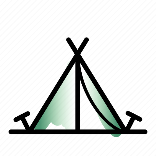 a-tent, accommodation, camp, camping, linebold, tent, watercolor icon