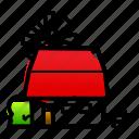 accommodation, farm, farm stay, farmhouse, fense, linebold, watercolor icon